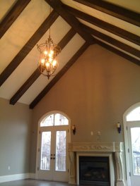 Cathedral ceiling stained wood beams